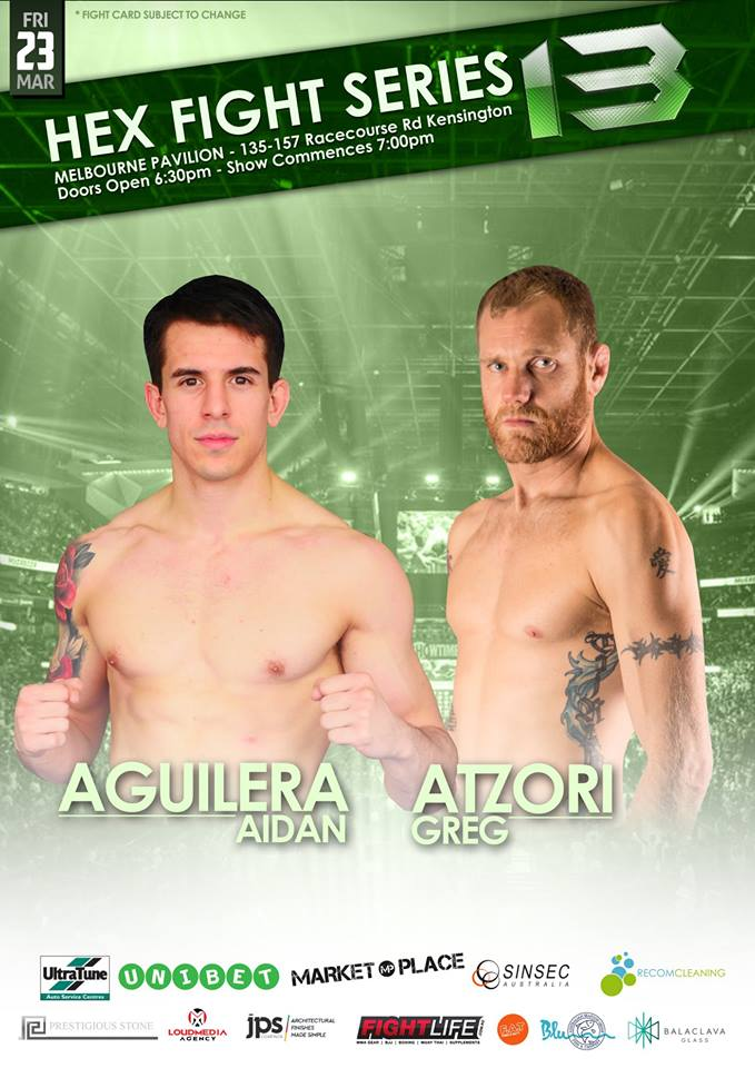 "Hex Fight Series 13 brings us a pivotal Lightweight clash as Aidan Aguilera MMA takes on Greg atzori mma.</p> <p>Aidan ""The Premature Finisher"" Aguilera returns to the Hex cage, fresh of his thrilling 2nd round TKO victory over Shem Murdoch at Hex Fight Series 12. Aguilera has looked impressive thus far in his MMA career, with all 5 of his professional wins coming via stoppage. Now, The Adrenaline MMA standout will look to show off more of his well-rounded finishing ability, when he steps into the cage against Greg Atzori.</p> <p>Queensland's Greg ""The Tarantula"" Atzori is returning to the Hex cage fresh off an impressive victory of his own. At Hex 12, the talented submission specialist scored a rear naked choke victory over the previously undefeated rising star Lance Ettia. ""The Tarantula"" has faced a multitude of high level opponents during his MMA career, including UFC veteran Alexander Volkanovski, he will bring all that experience with him to the Hex cage when he attempts to stop the run of another rising prospect.</p> <p>Don't miss this pivotal Lightweight clash on the big stage of Australian MMA on March 23rd"
